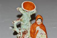 Large Victorian Staffordshire Spill Vase Modelled as Little Red Riding Hood (3 of 4)