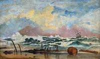 Large Spectacular 19th Century British Seascape Oil Painting - Shipwreck in Rough Seas! (2 of 13)