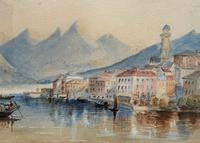 Large Lake in Italy - Beautiful 1930s Watercolour Landscape Painting (3 of 9)