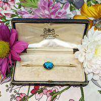Antique 9ct Gold Turquoise Cabochon Brooch (8 of 9)