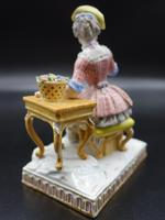Late 19th Century Meissen Figure of a Seated Young Lady (5 of 6)