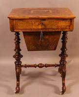Good Victorian Ladies Sewing Table inlaid with castle ruins (9 of 10)
