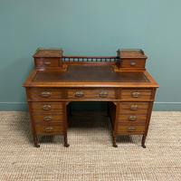 High Quality Victorian Maple & Co Antique Pedestal Desk (4 of 9)