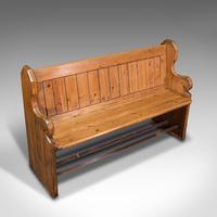 Antique Hallway Bench, English, Pine, Reception, Pew, Ecclesiastic, Victorian (7 of 12)