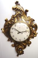 Impressive French Carved Cartel Wall Clock 8 Day Movement Scrolling leaf design 84cm High (11 of 13)