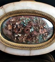 Antique French Jewellery Casket, Alabaster, Ormolu, Dried Flowers (12 of 13)
