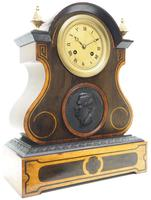 Antique French Empire 8-Day Striking Mantel Clock Walnut & Rosewood Case (2 of 5)