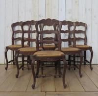 Six Oak & Rush Seated Dining Chairs (8 of 8)