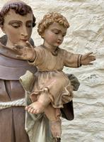 Exceptional Early 1900's Signed 39'' Carved Sculpture Statue St Anthony & Jesus (10 of 18)