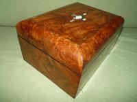 Quality Inlaid Burr Walnut Jewellery Box + Tray. c1875. (5 of 12)