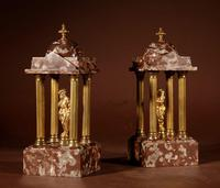 Grand Tour Style Very Decorative French Gilded Brass & Marble Clock Garniture (9 of 14)