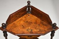 Antique Victorian Walnut Inlaid Corner Whatnot (12 of 15)