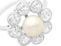 Natural Saltwater Pearl and 2.02ct Diamond, Platinum Dress Ring - Antique French Circa 1915 (4 of 12)