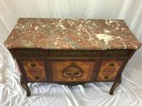 Fine Antique French Empire Style Marble Canted Marquetry Credenza (4 of 12)