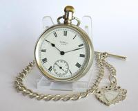 Antique Silver Waltham Bond Street Pocket Watch & Chain
