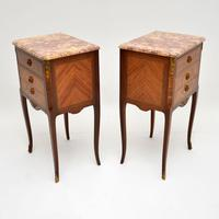 Pair of Antique French Inlaid Marble Top Bedside Chests (7 of 12)