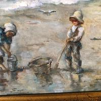 M J Rendall 20th Century Shell Pickers Oil Painting (5 of 5)