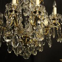 French Gilded Bronze & Crystal 11 Light Birdcage Chandelier (8 of 10)