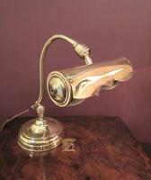 Antique Edwardian Polished Brass Adjustable Desk Lamp (2 of 6)