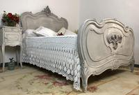 Antique French Double Bed Frame & Pot Cupboard Painted in Weathered Grey (11 of 12)
