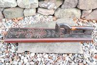 Scandinavian / Danish 'Folk Art' Horse handle mangle board with chip carving & original  black/red paint BPD c.1820 (3 of 19)