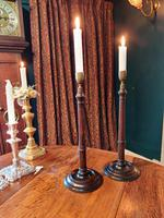 19th Century Wooden Turned Candlesticks (3 of 8)