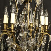 French Gilded 8 Light Antique Chandelier (3 of 5)