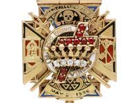 0.29ct Diamond, 0.20ct Ruby & Enamel, 12ct Yellow Gold Masonic Pendant / Watch Fob - Antique c.1900 (11 of 15)