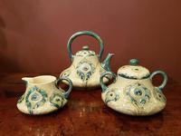 Superb McIntrye Moorcroft Antique Peacock Feathers Tea Set