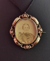 Victorian Mourning Pendant, Swivel Brooch, Hairwork