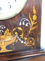 Incredible Rosewood Cased Mantel Clock with Multi Wood & Mother of Pearl Inlay 8-day Striking Clock (4 of 12)