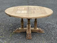 Large Round French Bleached Oak Farmhouse Table with Extensions (22 of 38)