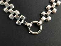 Antique Victorian Silver Collar Necklace, Brick Link (11 of 12)