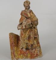Rare Antique Carved Gilt & Polychrome Figure Saint Paul 17th Century (2 of 10)