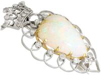 5.95ct Opal & 0.35ct Diamond, Platinum Brooch - Antique Victorian (8 of 9)