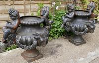 Pair of Cast Iron Garden Urns with Cherubs & Rams Heads (2 of 8)