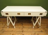 Vintage Scandi Boho White Campaign Style Desk with Trestle Legs (2 of 17)