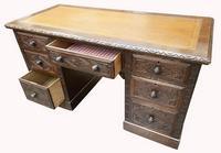 Good Quality Victorian Oak Pedestal Desk (7 of 7)