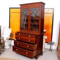 Secretaire Bureau Bookcase Astragal Glazed Mahogany (8 of 17)