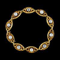 Antique Art Nouveau French Diamond Pearl Bracelet 18ct Gold 3ct Diamond c.1900 (7 of 7)