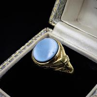 Antique Victorian Blue Sardonyx Signet 18ct 18K Yellow Gold Mourning Ring (6 of 10)