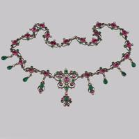 Victorian Pearl Pink & Green Paste Necklace Antique Austro Hungarian Swag & Scroll Necklace (4 of 7)