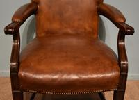 Desk Chair / Armchair Mahogany Leather 19th Century (5 of 6)