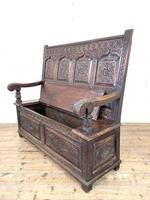 Antique 19th Century Carved Oak Settle (9 of 10)