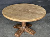 French Round Bleached Oak Farmhouse Dining Table (12 of 19)