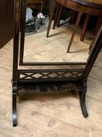 Black  Lacquered Chinoiserie Edwardian Cheval Dressing Mirror (11 of 12)