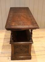 Late Victorian Solid Carved Oak Monks Bench (11 of 12)