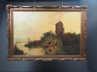 Large Antique Windmill Landscape Oil Painting on Canvas (2 of 12)