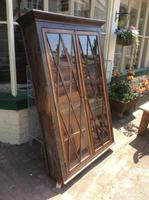 Antique Display Cabinet with Lattice Glass Doors
