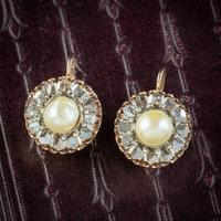 Antique Victorian Rose Cut Diamond Natural Pearl Earrings 3.60ct of Diamond 18ct Gold c.1880 (7 of 7)